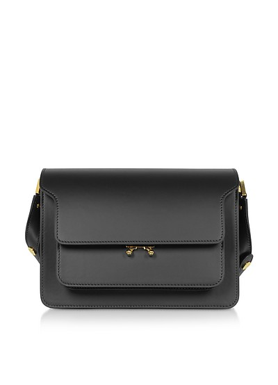 Black Smooth Leather Trunk Shoulder Bag - Marni
