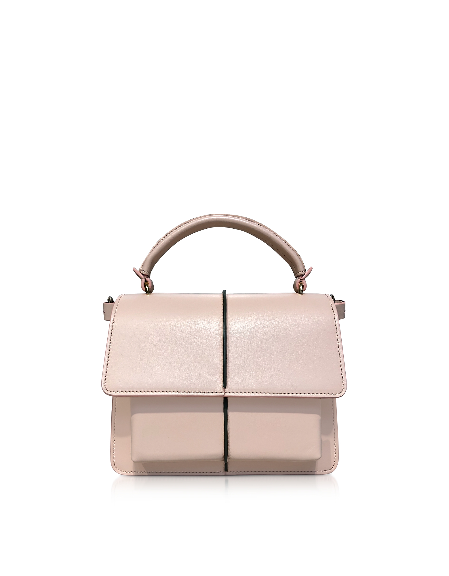 Marni Smooth Leather Top Handle AttachÉ Bag In Antique Pink