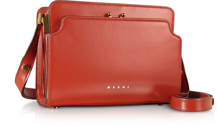 Marni Red Trunk Reverse Leather Shoulder Bag at FORZIERI