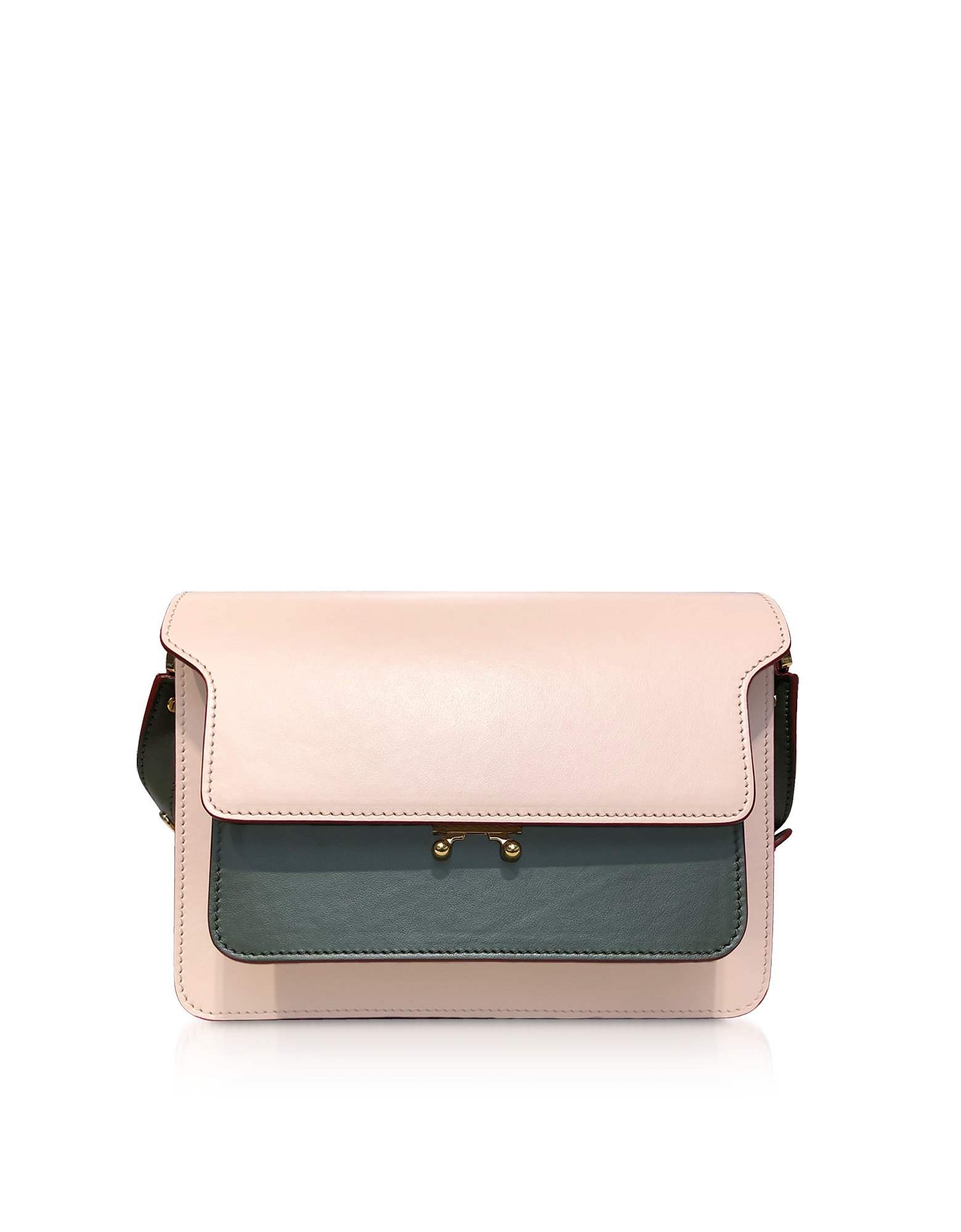 Marni Color Block Leather Mini Trunk Bag In Antique Pink