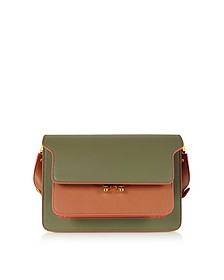 Color Block Leather Mini Trunk Bag