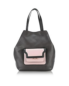 Shopper Hexagonal Trunk in Pelle Chocolate e Rosa Quarzo - Marni
