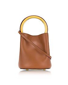 Maroon and Dark Lemon Leather Pannier Bucket Bag - Marni