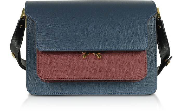Orion Blue, Black & Ruby Saffiano Calf Leather Trunk Bag - Marni