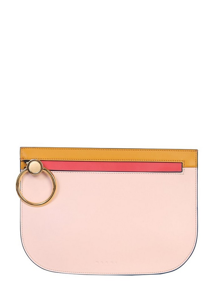 BRUSHED LEATHER CLUTCH - Marni