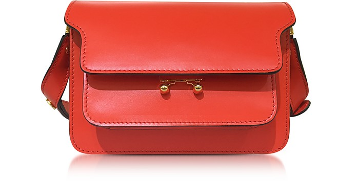 Poppy Red Leather Mini Trunk Bag - Marni