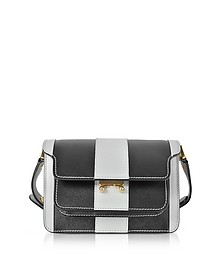 Pelican and Black Striped Saffiano Leather Mini Trunk Bag - Marni