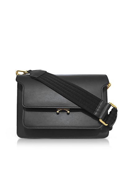 Leather TRUNK Shoulder Bag w/Canvas Strap - Marni
