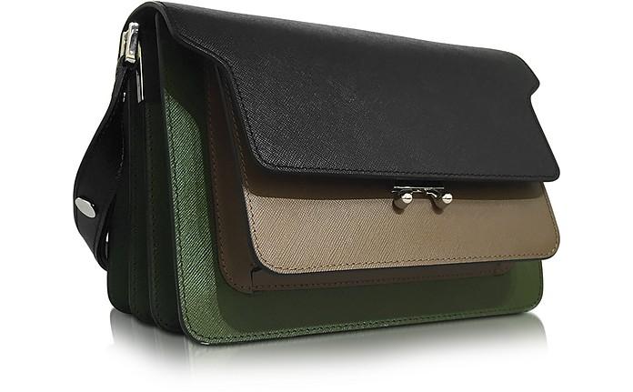 Marni Mini-sac De Coffre En Cuir Saffiano Noir Et Vert Olive 3JLRR1Tqp
