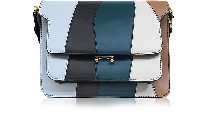 Illusion Blue and Coffee Leather Trunk Bag - Marni