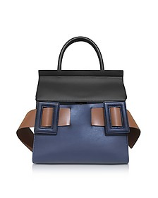 Blue China, Coffee and Gold Brown Leather Dual Tote Bag - Marni