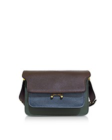 Burgundy, Orion Blue and Forest Green Saffiano Leather Mini Trunk Bag - Marni