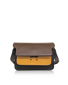 Cigar, Pumpkin and Black Saffiano Leather Mini Trunk Bag - Marni