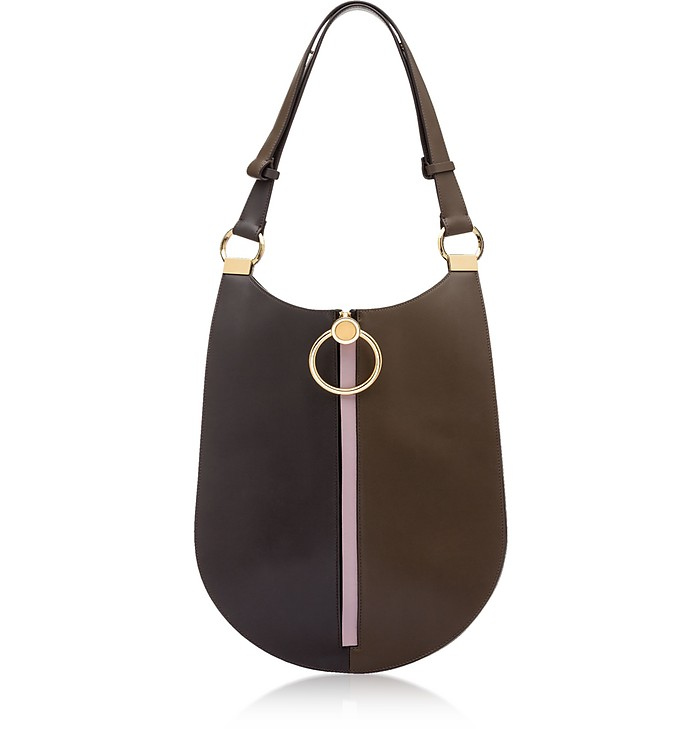 Coffee, Wenge and Powder Pink Leather Earring Shoulder Bag - Marni