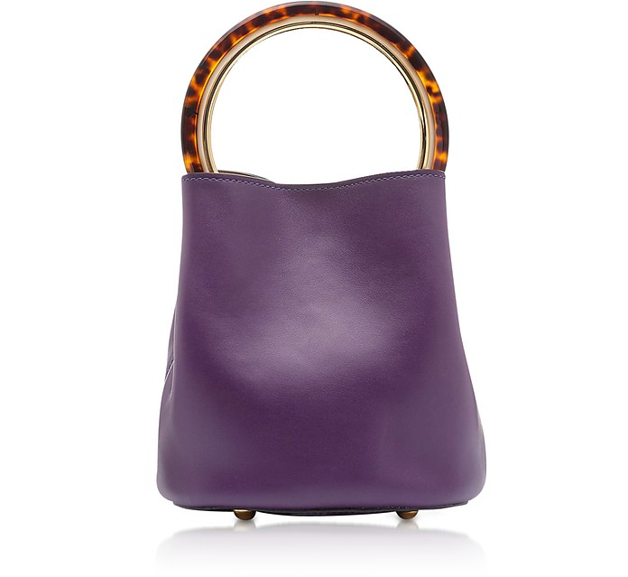 Dark Orchid and Ceramic Calfskin Pannier Bag - Marni