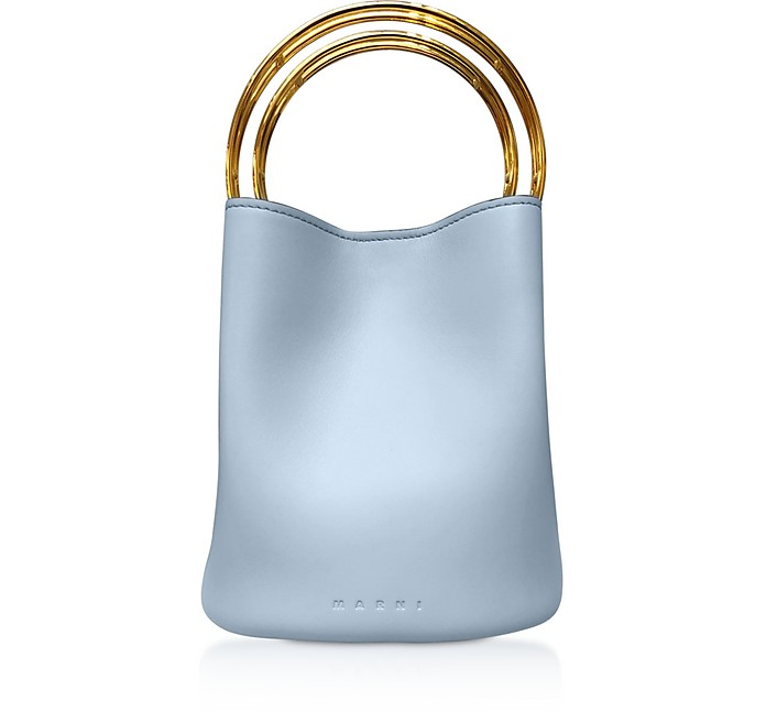 Pannier Leather Bucket Bag w/Metal Handle - Marni
