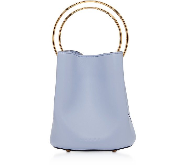 Pannier Leather Bucket Bag w/Metal Handle - Marni
