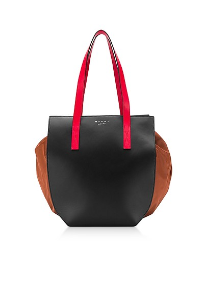 Color Block Leather Tote Bag - Marni