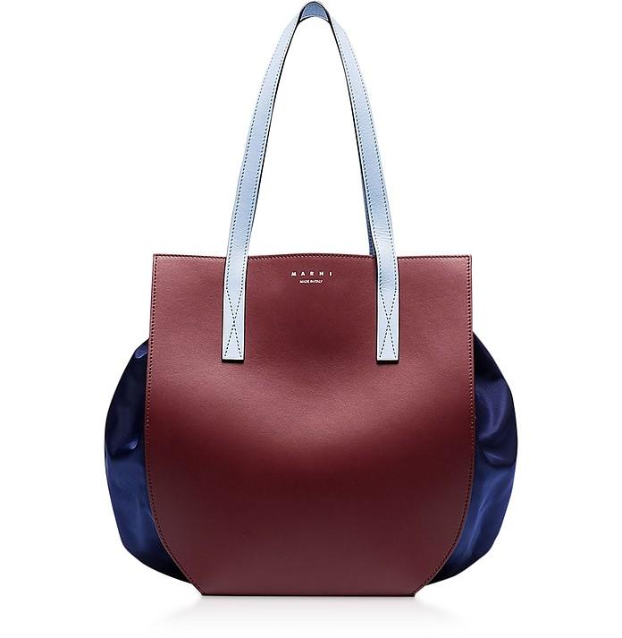 Color Block Leather Tote Bag - Marni