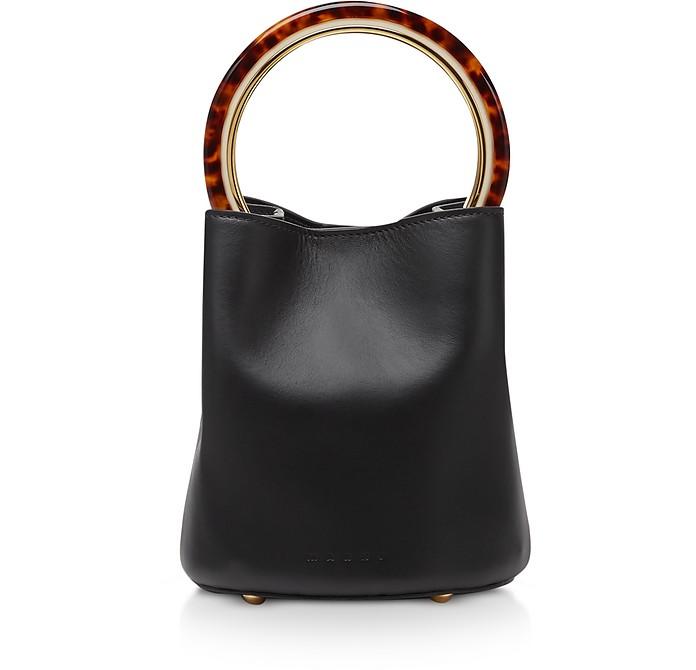Calfskin Pannier Bag W/ Design Handle - Marni
