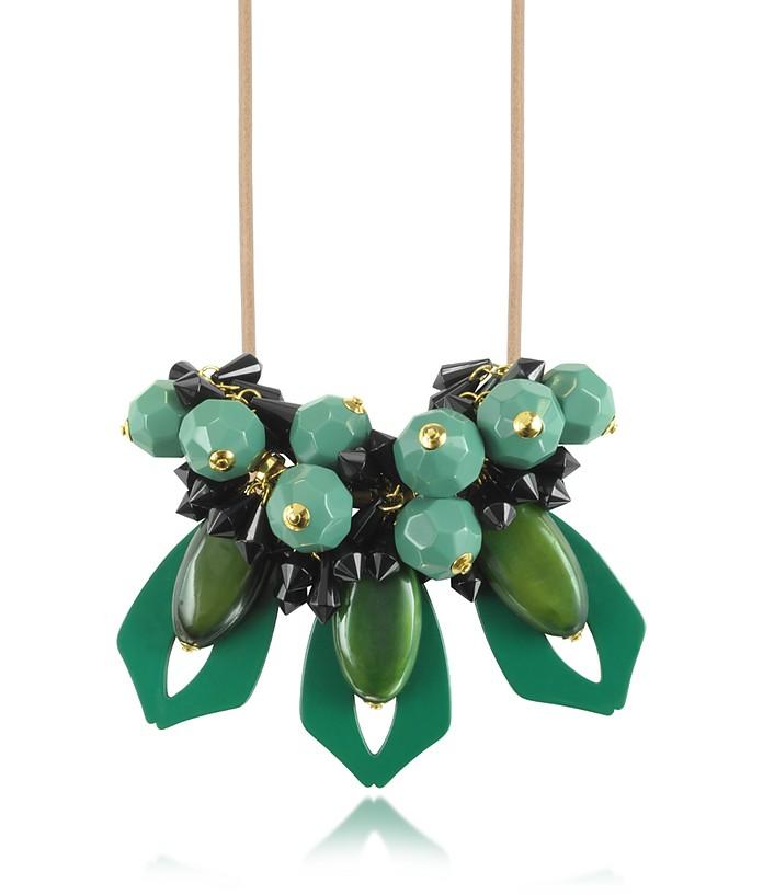 Molto Collana in Resina Verde Smeraldo e Cuoio Marni su FORZIERI TT27