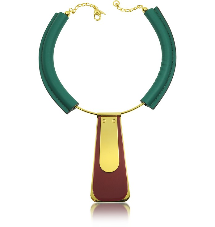 Trapeze Pendant Metal and Leather Necklace - Marni