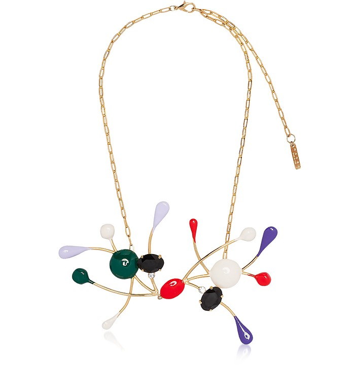 Gold Metal and Enamel Necklace w/Colored Glass and Rhinestones - Marni