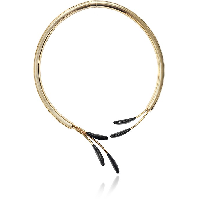 Gold Metal and Black Enamel Choker - Marni