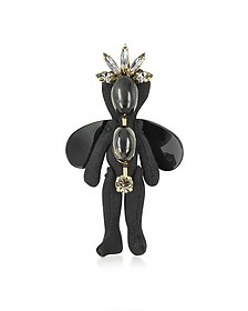 Pendant in Black Cotton Brooch/Charm