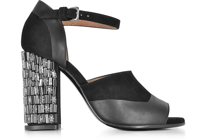 Black Velvet and Leather Heel Sandal w/Crystals - Marni