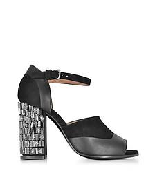 Black Velvet and Leather Heel Sandal w/Crystals - Marni / マルニ