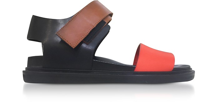 Black and Orange Leather Fusbett Sandals