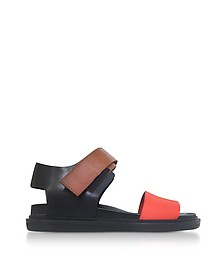 Black and Orange Leather Fusbett Sandals - Marni