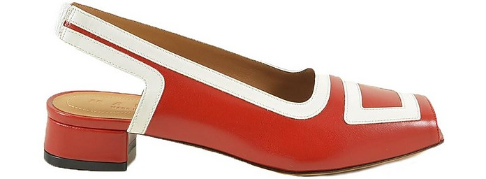 Red and White Leather Open-Toe Slingback Sandals - Marni