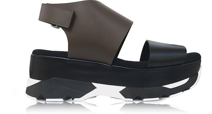 Dark Olive and Black Leather Wedge Sandals - Marni