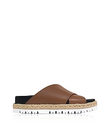 Marron Leather Fussbett Slide Sandals - Marni