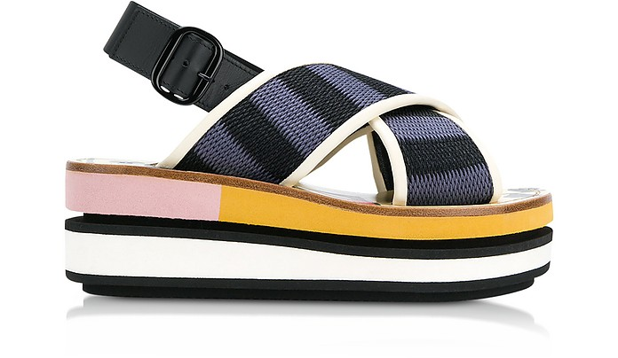 Black and Cobalt Blue Cotton Wedge Sandals - Marni