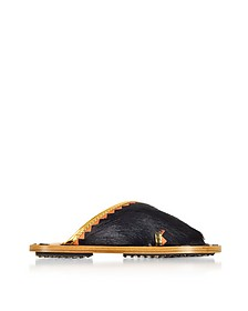 Black Haircalf and Laminated Leather Crossover Slide Sandals - Marni