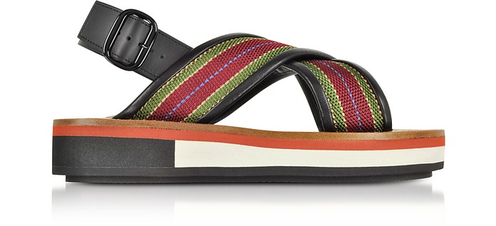 Striped Canvas and Leather Flatform Sandals - Marni