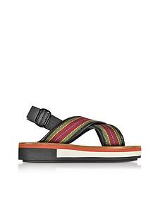 Striped Canvas and Leather Flatform Sandals - Marni / マルニ