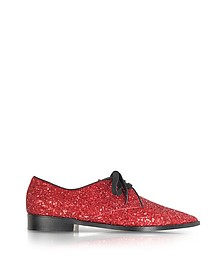Glitter Coated Gabardine and Leather Lace up Shoe