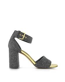 Antracite Felt Ankle Strap Sandal