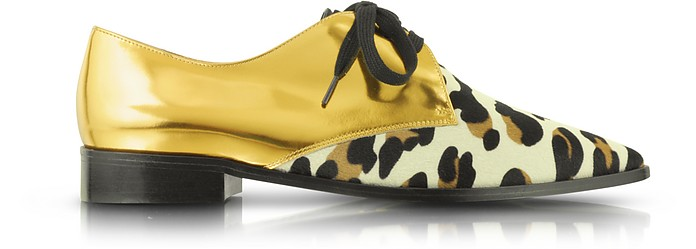 Gold Metallic Leather and Animal Print Haircalf Lace-Up Shoe - Marni