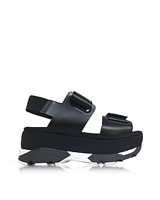 Black Leather Wedge Sandals - Marni