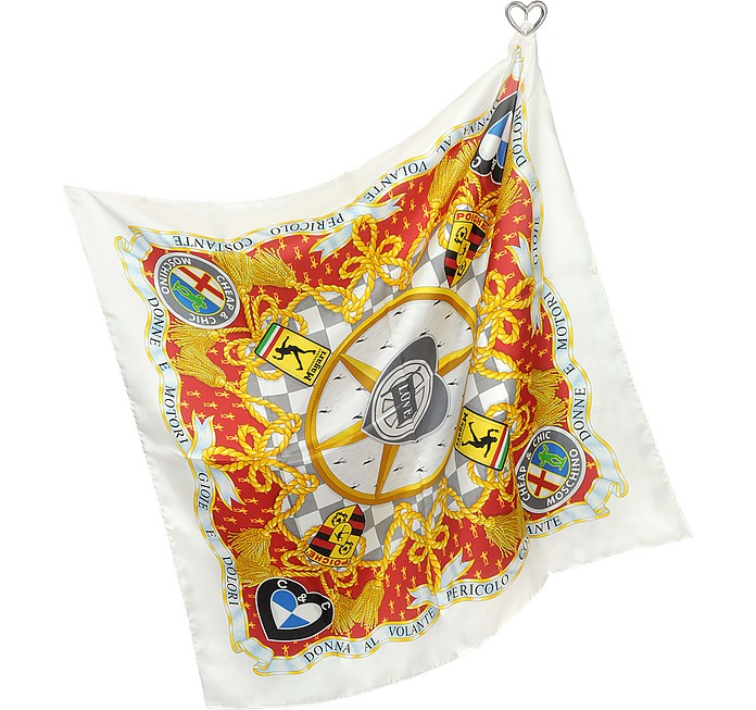 Moschino Cheap and Chic - Car Logo Silk Square Scarf at ...