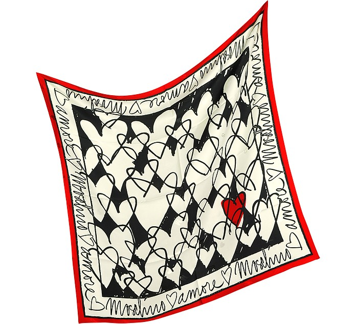 Archivio Moschino - Heart Print Silk Square Scarf - Moschino