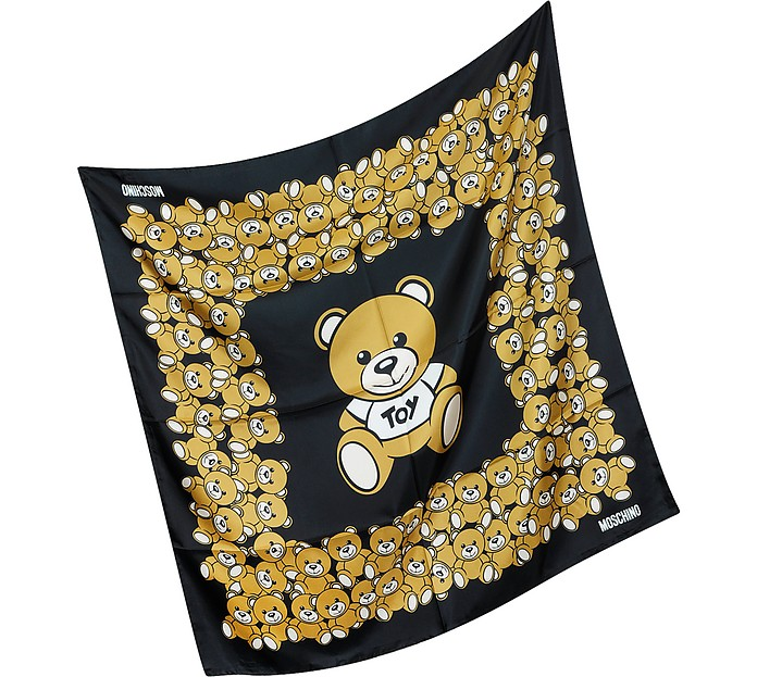 Moschino Black Moschino Teddy Bears Printed Twill Silk