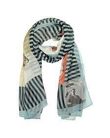 Archivio Moschino - Light Blue Print Silk Stole