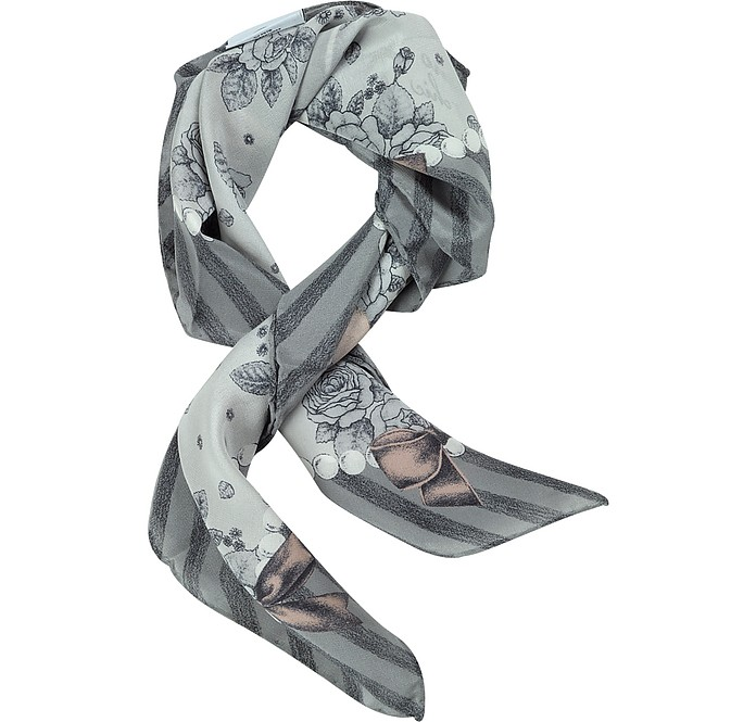 Cheap and Chic Olive Oil Printed Silk Bandanna - Moschino