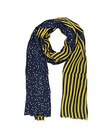Stripes and Stars Moschino Wool Blend Long Scarf